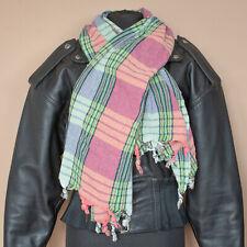 Long Tasseled Arab Shemagh Scarf Green Pink Blue Hippie Festival Vintage