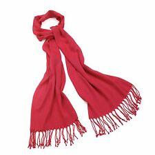 Ladies Red Pashmina Style Tassel Scarf / Shawl