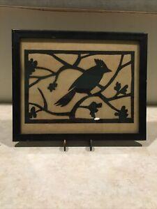 Vintage Bird Scissor cutting in frame