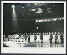 """1979 """"Challenge Cup"""", USA vs. Russia Ice Hockey (Players Lined Up) Vintage Photo"""