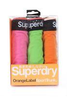Superdry Pack de Trois Boxer Homme Orange Étiquette Sport Slip Fluro Rose Vert