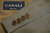 Canali Silk Blend Brown Woven Sport Coat Jacket Sz 46R Made in Italy