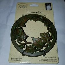 New 2003 YANKEE CANDLE ANTIQUE GREEN IVY ILLUMA LID JAR CANDLE TOPPER METAL