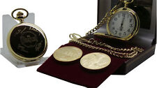 THE BEATLES Signed autographed Gold Pocket Watch plus Gold Coin Gift Set in Case
