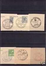 Briefstücke, sechs Stempelbelege, Deutschland 1947/48