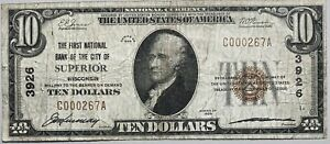 1929 1st National Bank of Superior, Wisconsin Small Size National CH# 3926