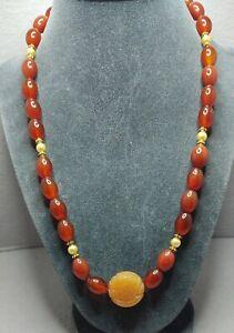 Vintage Amber Carved Gemstone Necklace