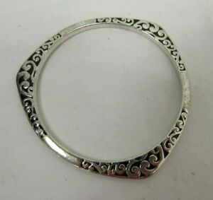 Sterling Silver 925 Bangle Bracelet Triangular Celtic Design 26.3g - KEY C1