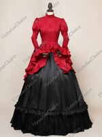 Gothic Victorian Downton Abbey Brocade Gown Dress Theater Halloween Costume 324
