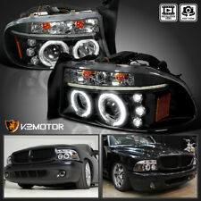 1997-2004 Dodge Dakota/Durango Halo LED Projector Headlights Black