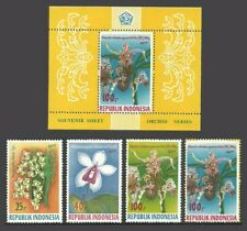 INDONESIA 1977 FLOWERS ORCHIDS SET & M/SHEET MNH