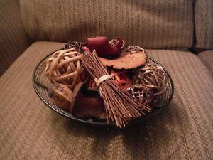 Brown Metal Decorative Basket with Balls
