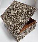 SUPERB LARGE RARE DECORATIVE ENGLISH ANTIQUE 1901 STERLING SILVER CIGARETTE BOX