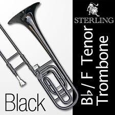 BLACK Bb/F Tenor TROMBONE • High Quality • Brand New with Case • Semi-Pro Level
