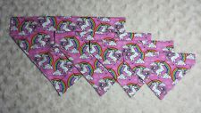 Dog bandana (slide on collar) neckerchief scarf Unicorns and Rainbows.