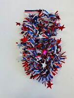 1 PK Blue Red White Tinsel Red Stars Garland Patriotic 4th July Decor Party 9ft