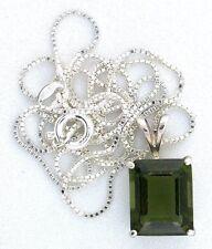 3.54 Carat 11x9 Emerald Moldavite Gemstone Sterling Silver Pendant Chain EBS6335
