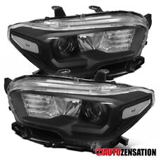 For 2016-2018 Toyota Tacoma Pair Black Projector Headlights Signal Lamps