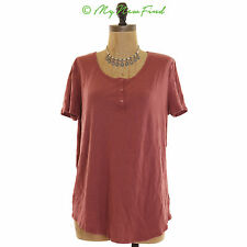 Soprano Nordstrom Juniors Top Size Large Button Front Henley Red NEW B56