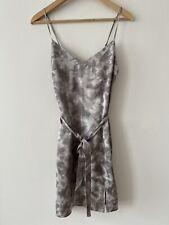Abercrombie & Fitch Tall Light Grey V-neck Satin Belted Slip Cami Mini Dress S