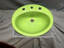 Vtg Cast Iron Lime Green Oval Drop in Bathroom Sink Old Kohler Retro 339-20E