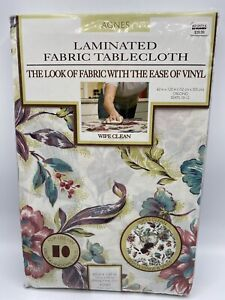 Laminated Fabric Tablecloth AGNES Oblong 60 X 120  Floral Print Wipes Clean NEW