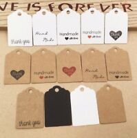 Craft Paper Tags 'HANDMADE WITH LOVE' & 'THANK YOU' Hand Made Gift Tags #2