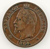 1864-B B France 10 Centime (XF) Extra Fine Condition
