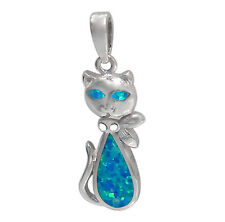 STERLING SILVER 925 HELLO KITTY NECKLACE EMULATED OPAL STONE