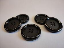 Knopf Mantelknopf schwarz rund,  Ø 30 mm 5 Stück exclusive hochglanz Optik  S 5