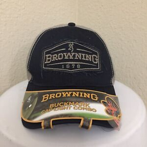Browning Buckmark Cap LED Light Combo Embroidered Logo Shooting Hunting Hat New