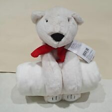 NEW Large White Teddy Bear With Blanket By Mothercare pro