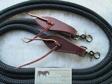"BLACK 12' x 1/2"" Yacht Rope Reins w Flared Leathers, Clips by Rose Lodge Equine!"