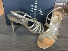 Adrianna Papell Womens Size 10 Amena Platiino Gold Heels Sandals Shoes