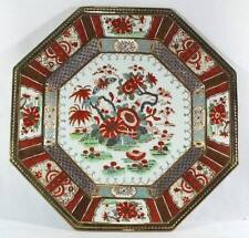 Chinese Porcelain Plate Hand Painted Octagon Shape Gold Trim