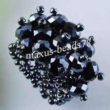 Free shipping Pretty Black Crystal Faceted Beads Stretch Finger Ring MJ125