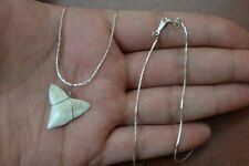 SILVER PLATED SHARK TOOTH PENDANT NECKLACE #T-2525BN