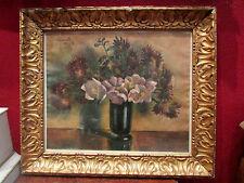 ancien tableau pastel nature morte bouquet fleurs 1940 art deco signé lendeville