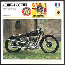 1929 Koehler-Escoffier 1000cc Four Pipes Motorcycle Photo Spec Sheet Info Card