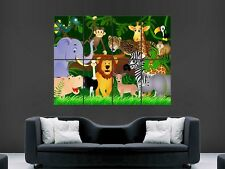 KIDS JUNGLE ANIMALS NURSERY CHILDREN BABY GIANT ART PRINT POSTER PICTURE
