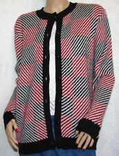 "Bon Worth Cardigan Knit Sweater Size S Bust 38-40"" Black Red and White"