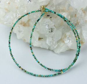 Turquoise Precious Stone Necklace Facetted Fein-Geschliffen Ball Ladies Noble