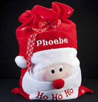 PERSONALISED EMBROIDERED NAME DELUXE CHRISTMAS SANTA SACK GIFT BAG STOCKING XMAS