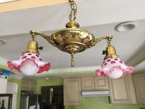 Vintage Fenton Cranberry Glass Shade & Brass 2 Lights Hanging Lamp Chandelier