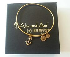 VERY RARE ALEX and ANI MINI ANCHOR Charm Russian BRONZE GOLD Bangle BRACELET