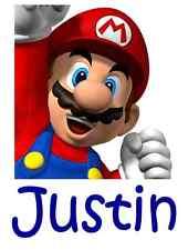 "Super Mario Personalized Iron On Transfer 5""x6.5"" For LIGHT Fabrics"