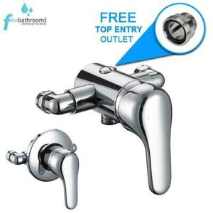 Universal Chrome Single Lever Shower Mixer Valve Exposed Concealed 150mm Pipe