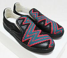 $785 Italy MAISON MARTIN MARGIELA 22 Embroider Leather Slip-On Sneakers 44-IT 11