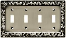 64041 Paisley Quad Switch Satin Pewter Cover Plate