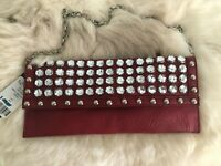 VTG WOMEN'S SMALL RED LEATHER CLUTCH PURSE WITH CRYSTALS DETACHABLE CHAIN HANDLE